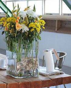 vágott virágok uvegkádbe