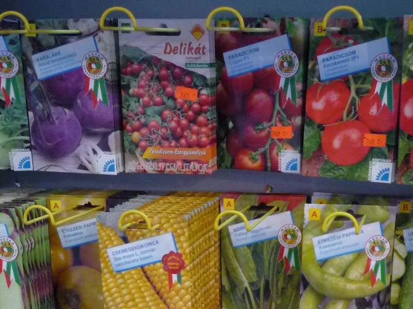 vetőmag kínálat kertészeti áruházban